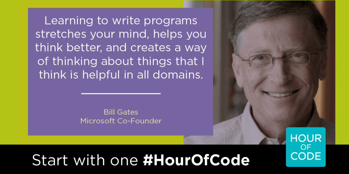 Bill Gates quote promoting Hour of Code